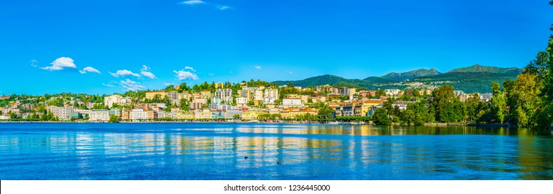 Old town of Lugano facing the Lugano lake in Switzerland