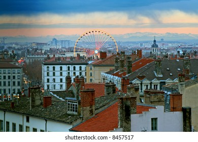 The old town of Lyon, france, at dusk