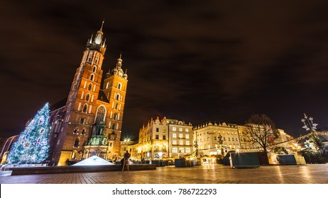 Kraków Old Town Market Square during winter night