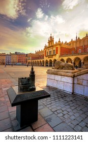 Old town market square of Krakow, Poland on April 12, 2018.