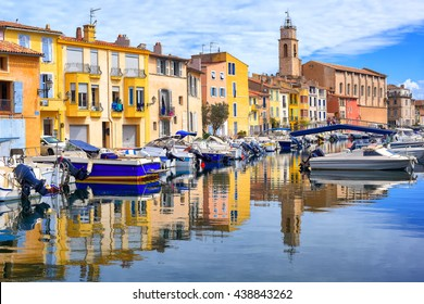 """Old town of Martigues in the southern France, called """"Venice of Provence"""" for its many canals and colorful houses"""