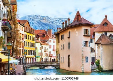 Old town with medieval architecture in Annecy, France.