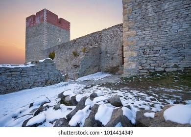 Old town Medvedgrad from Sljeme mountain in Zagreb - Croatia (Hrvatska, Kroatien)