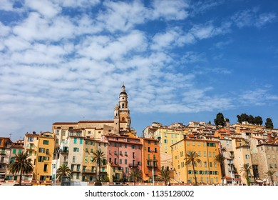 Old Town of Menton skyline on Mediterranean coast, French Riviera, France