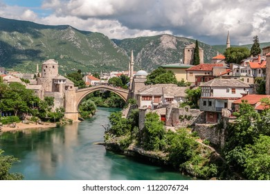 The old town of Mostar and rebuilt 16th century Ottoman bridge Stari Most, over the river Neretva, in Bosnia and Herzegovina
