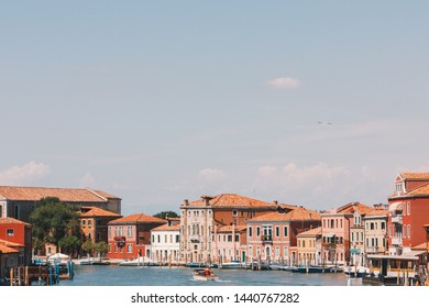 Old town of Murano island, Venice, Italy. view from boat
