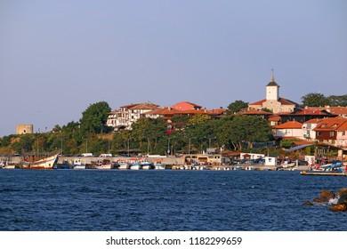 Old town Nessebar on the Black Sea cityscape Bulgaria