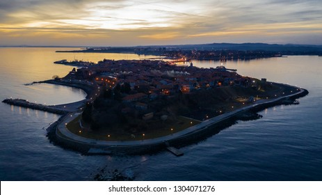 Old town of Nessebar at sunset, bird eye view, drone shot