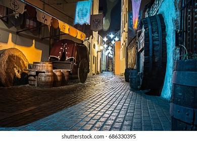 Old town in night Riga Latvia