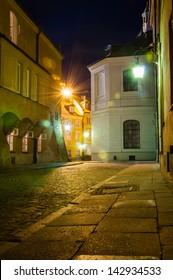 Old Town at night. Warsaw, Poland