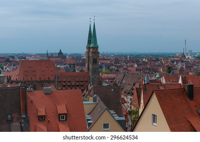 Old town of Nuremberg with the spires of Saint Sebald church and Saint Lorenz church, in Franconia, Bavaria, Germany.