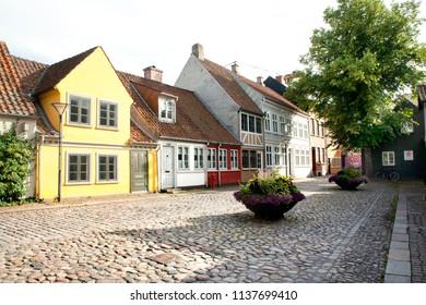 Old town of Odense, Denmark. HC Andersen's hometown. JUNE 17, 2018 - Odense, Denmark
