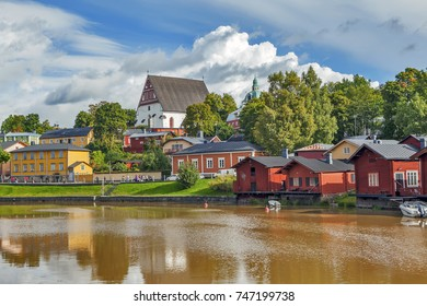 Old town on the bank of the river Porvionjoki. Porvoo. Finland