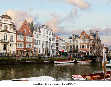 Old  town on Graslei harbor at day, Ghent, Belgium