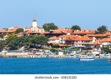 Old town panorama with church in Nessebar or Nesebar in Bulgaria, Black sea resort