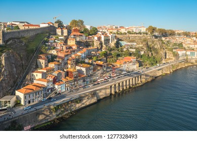 Old town of Porto with the Guindais Funicular that leads to quay at Guindais