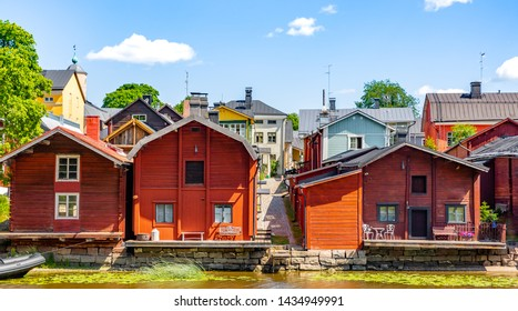 Old town of Porvoo, Finland. Beautiful city landscape with idyllic river and old buildings  in Porvoo