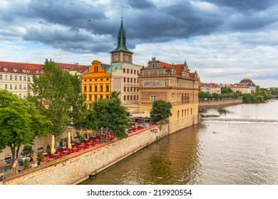 Old town of Prague with castle at Vltava river, Czech Republic