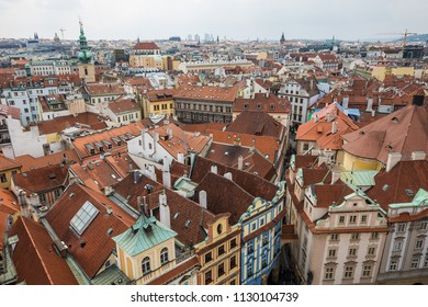Old town Prague from the Town hall tower lookout