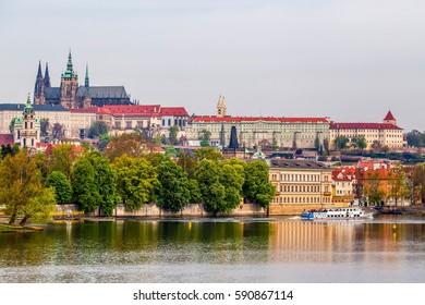 Old town of Prague on Vltava river, Czech Republic