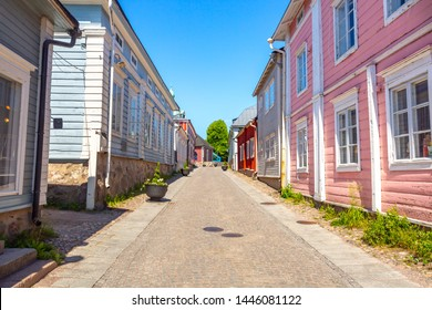 Old town of Provoo . Colorful houses in old town Porvoo. Finland