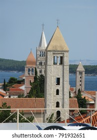 old Town Rab look at the four bell towers, island Rab, Croatia