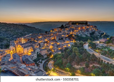 The old town of Ragusa Ibla in Sicily before sunrise