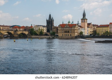 Old Town reflected in the River Vltava. Shot from Strelecky Ostrov Island. Prague