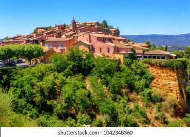 Old Town of Roussillon, Provence, France, is listed as one of the most beautiful villages of France (Les Plus Beaux Villages de France), is situated by the ochre Red Cliffs (Les Ocres)