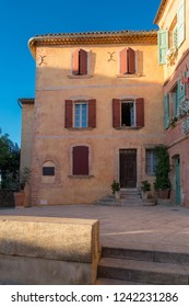 Old Town of Roussillon, Provence, France, known as one of the most beautiful villages of France (Les Plus Beaux Villages de France), is situated by the ochre Red Cliffs (Les Ocres)