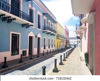 Old town San Juan, Puerto Rico. La Fortaleza Street