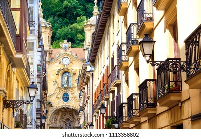 Old town of San Sebastian, Basque country, Spain. With the view on Basilica of Saint Mary of the Chorus.