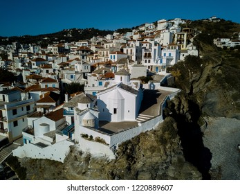 Old Town of Skopelos and an Old Greek Orthodox Church, Island of Skopelos, Northern Sporades in the Aegean Sea