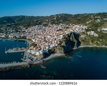 Old Town of Skopelos and harbor from above, island of Skopelos,