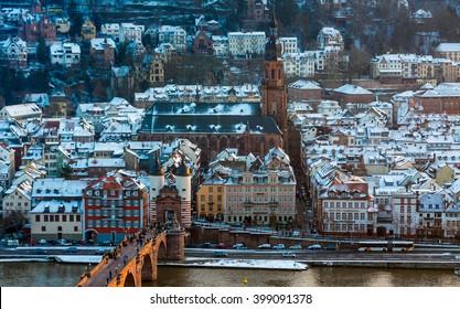 Old town in snow in Heidelberg, Germany