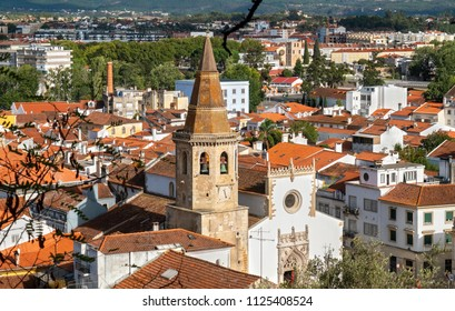 Old town with spire of St. John the Baptist Church in Tomar. Ribatejo, Portugal