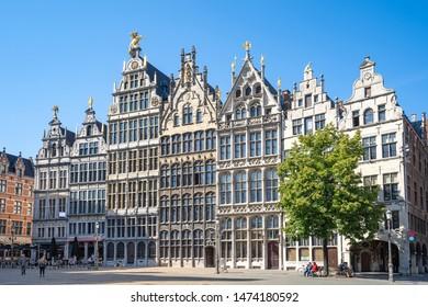 Old town square of Antwerp in Belgium.