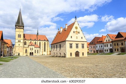 Old Town Square in Bardejov, Slovakia. In the middle of market is gothic-renaissance town hall. From north market closes gothic church (Basilica) of Saint Giles
