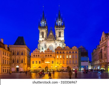Old Town Square and Church of Mother of God before Tyn in Prague at night. Czech Republic