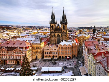 Old Town Square with Church of Our Lady before Tyn at christmas time in Prague, Czech Republic.