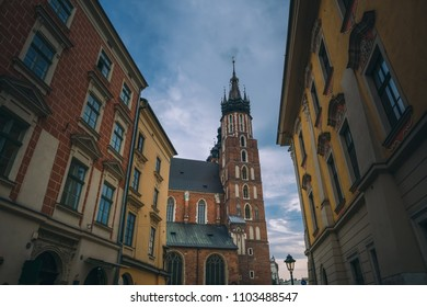 old town square, market, 23 April 2018 Krakow old town, summer, tourists street area. Beautiful old architecture