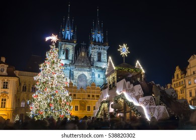 Old Town Square in Prague with the Christmas tree.