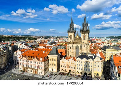 The Old Town Square in Prague, Czech Republic on a sunny day