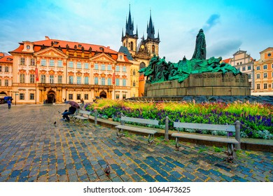 Old town square in Prague, Tyn Cathedral of the Virgin Mary and monument of Jan Hus. Czech Republic, World Heritage Site by UNESCO