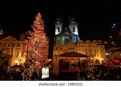 Old Town Square in Prague with Tyn Cathedral during the Christmas celebrations at night