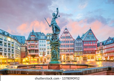 Old town square romerberg in Frankfurt, Germany at twilight