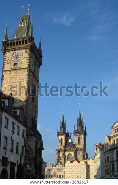 Old Town Square (Staromestsky namesti) in Prague, Czech Republic with Old Town Hall in foreground and Tyn Cathedral (Chram Panny Marie pred Tynem) in background.