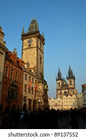 Old town square at sunset - prague