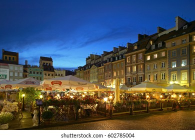 Old town square in Warsaw by Night, Poland, Europe, 2. July 2004