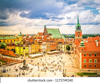 Old town square, Warsaw Poland, retro toned